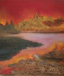 Acrylbild Mischtechnik Marmormehl, Rote Landschaft