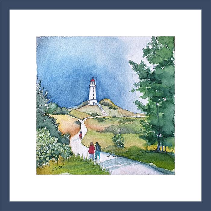 Aquarell Sabine Leipold, Leuchtturm am Dornbusch, Hittensee