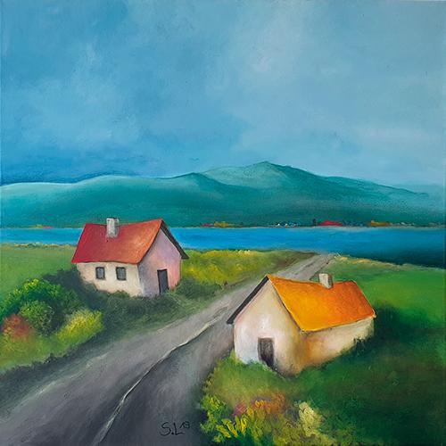 Acrylbild, Häuser am See, Sabine Leipold