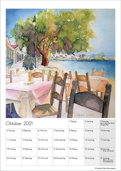 Sabine Leipold Kunstkalender Aquarelle 2021 Oktober