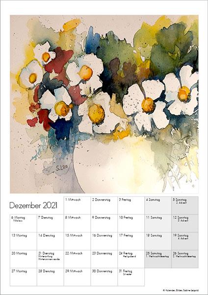 Sabine Leipold Kunstkalender Aquarelle 2021 Dezember