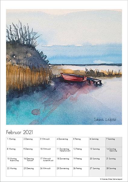 Sabine Leipold Kunstkalender Aquarelle 2021 Februar