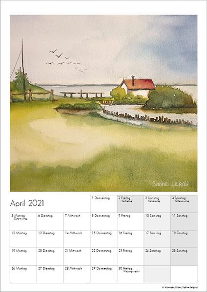 Sabine Leipold Kunstkalender Aquarelle 2021 April
