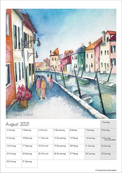 Sabine Leipold Kunstkalender Aquarelle 2021 August