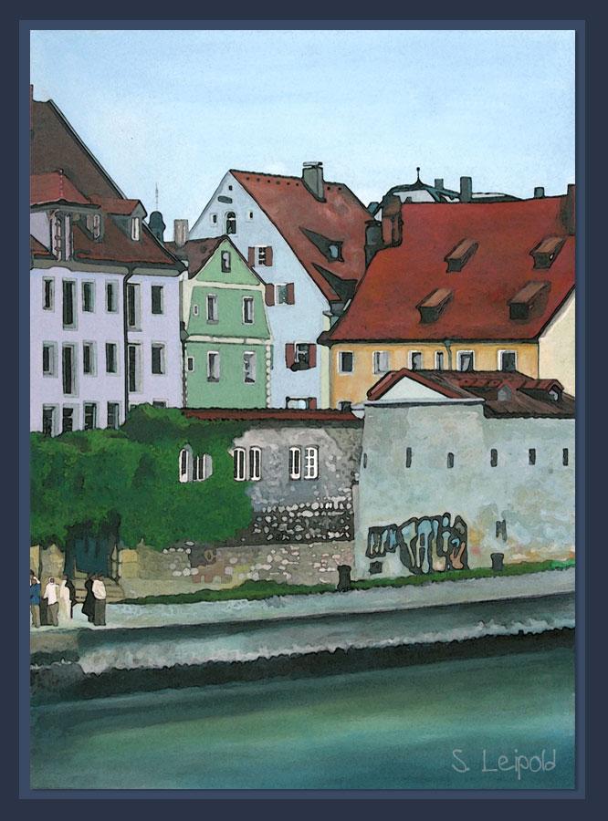 """Acrylbild, Sabine Leipold, Regensburg, """"Blick von der Steinernen Brücke"""""""