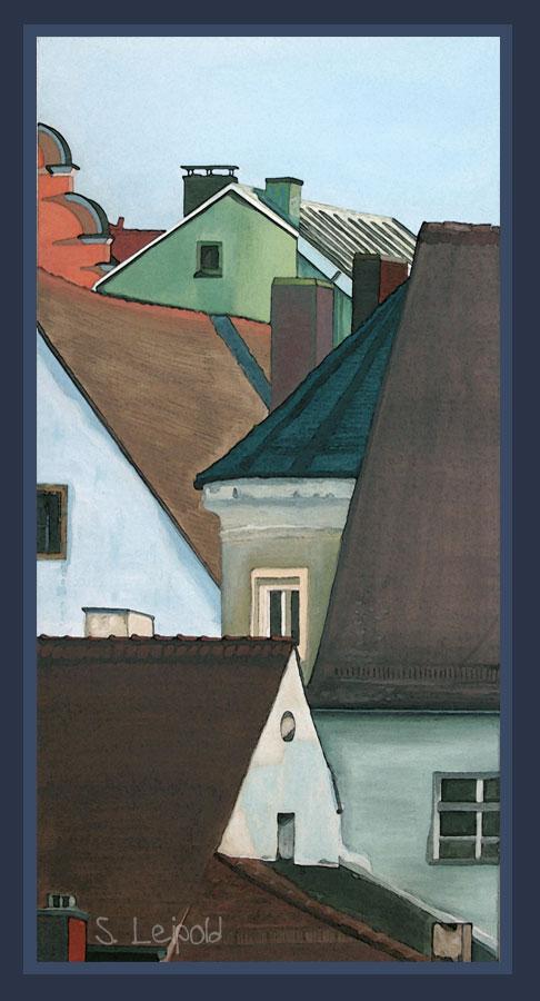 Acrylmalerei Vorlagen, Dächer von Regensburg, Sabine Leipold
