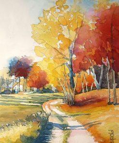 Herbstbild Pfreimd, Aquarell, Sabine Leipold, Regensburg