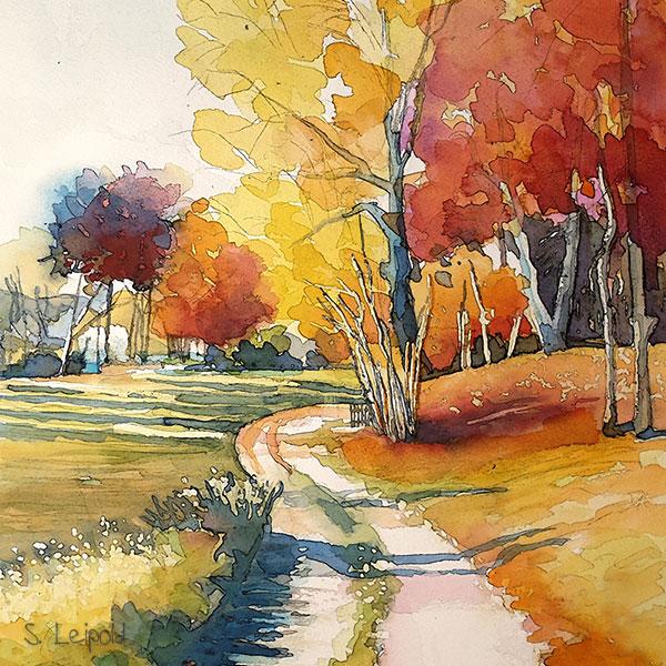 Aquarellurse, Herbstbild, Sabine Leipold